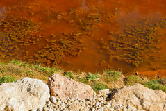 Tinted water. The river Tinto  located in Niebla, in Huelva (Spain). Its waters are red due to high content of heavy metals Stock Image