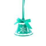 Tintement du carillon bleu de Noël d'isolement la nouvelle année de fond blanc Photo libre de droits