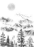 Tinten-Landschaft mit Bergen, Mond und Tannenbäumen Stockfotos