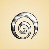 Tinten-Skizze eines Spiralarm-Symbols mit weißer Fülle Stockfoto