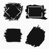 Tintenbürstenfahne Schwarze Farbenrahmen für Text Vektor lizenzfreie abbildung
