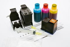 Tintennachfüllung eingestellt für Drucker Stockbilder