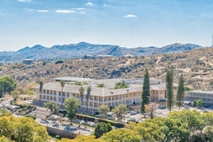 Tintenpalast, the Namibian parliament buildings in Windhoek. WINDHOEK, NAMIBIA - JUNE 17, 2017: The Tintenpalast German for `Ink Palace`, the Namibian parliament stock image