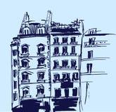 Tintenskizze von Gebäuden Hand gezeichnete Vektorillustration des Hauses stockbilder