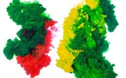Tintenspritzen des abstrakten Farbenhintergrundes multi Farbim Wasser lokalisiert auf weißem Hintergrund Stockfotografie