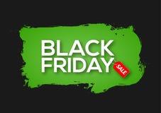 Tintenspritzenfahnen-Schablonenillustration Black Fridays abstrakte grüne Schwarzer Freitag-Verkaufsschmutzaufkleber vektor abbildung
