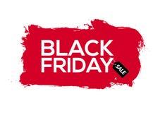 Tintenspritzenfahnen-Schablonenillustration Black Fridays abstrakte rote Schwarzer Freitag-Verkaufsschmutzaufkleber vektor abbildung
