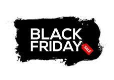 Tintenspritzenfahnen-Schablonenillustration Black Fridays abstrakte schwarze Schwarzer Freitag-Verkaufsschmutzaufkleber vektor abbildung