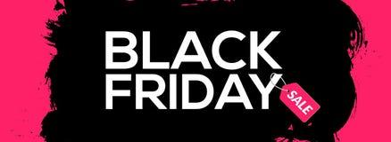 Tintenspritzenfahnen-Schablonenillustration Black Fridays abstrakte schwarze Schwarzer Freitag-Verkaufsschmutzaufkleber stock abbildung