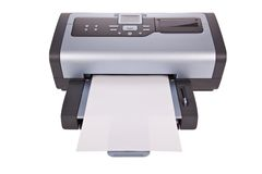 Tintenstrahldrucker getrennt auf Weiß Stockfotografie