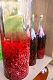 Tintflessen van citroen, bes, bessen en lijsterbessen Kruiden perforatum Medicine Geesten, wijn en likeur stock afbeelding