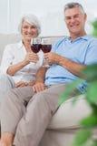 Tintinnio della moglie e del marito i loro vetri di vino rosso Fotografia Stock