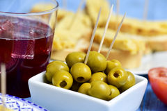 Tinto de verano, olives, and spanish omelet Stock Image