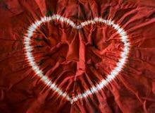 Tintura del legame del cuore Fondo del tessuto Fotografia Stock Libera da Diritti