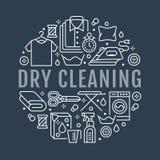 Tinturaria, ilustração da bandeira com linha lisa ícones Equipamento do serviço de lavanderia, máquina de lavar, reparo da roupa Foto de Stock