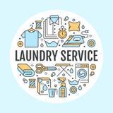 Tinturaria, ilustração da bandeira com linha lisa ícones Equipamento do serviço de lavanderia, máquina de lavar, reparo da sapata Fotografia de Stock Royalty Free