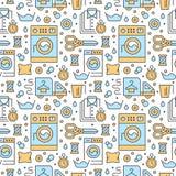 Tinturaria, teste padrão sem emenda do azul de esmalte com linha lisa ícones Equipamento do serviço da lavagem automática, máquin Fotografia de Stock Royalty Free