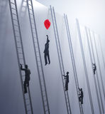 Tiny abstract people climbing ladders Stock Photos