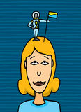 Tiny astronaut claiming conquering a woman. Tiny astronaut claiming conquering woman stock illustration