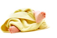 Tiny baby's feet in towel Stock Image