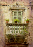 Tiny balcony Split - retro Stock Photos