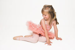 Tiny Ballerina looking down stock images