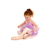 Tiny Ballet Dancer. Playing dressup in Pointe Shoes Royalty Free Stock Photos