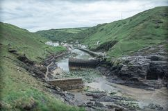 Picturesque natural port of Boscastle Cornwall United Kingdom. Tiny Boscastle harbour England, great Britain Stock Photos