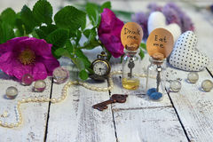 Tiny bottles with tags eat me and drink me, clocks, key and wild roses on planks Stock Photo