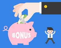 Tiny Business man jumping with happiness because big hand of boss giving bonus in piggybank, about business situation concept. Tiny Business man jumping with royalty free illustration