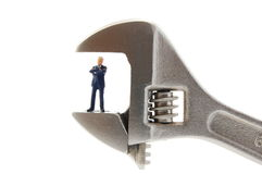 Tiny business man in stress Royalty Free Stock Photos