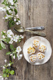 Tiny cakes on wooden background, springtime set. Royalty Free Stock Photos