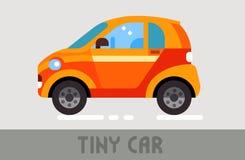 Tiny Car. Orange Urban Tiny Car in Flat Style Stock Images