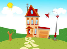 Tiny cartoon house Royalty Free Stock Photo