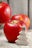 Tiny ceramic christmas tree and big red apples Stock Image