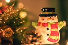 Ceramic Snowman Christmas Ornament and Decorations stock photography