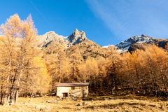 Tiny chalet in the italian Alps with a colourful panorama. Under a peak. Val camonica Stock Image