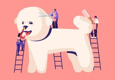 Tiny Characters on Ladders Care of Cute Poodle Puppy at Groomer Salon, Cut Wool, Brushing with Comb, Pet Hair Salon, Styling. And Grooming Shop, Pet Store for royalty free illustration