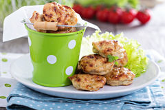 Tiny chicken burgers Stock Images