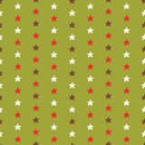 Tiny Christmas Stars, Hand Drawn Brown. Green, Red and Snow White Seamless Vector Pattern, Trendy Winter Illustration for Fashion Prints, Stationery, Xmas stock illustration