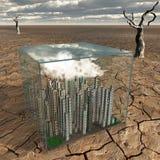 Tiny city in plastic box in desert Royalty Free Stock Image