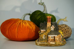 Tiny cottage with pumpkins Royalty Free Stock Images
