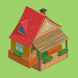 Tiny cottage with red roof. Cute cartoon house in isometry. Vector hand drawn illustration Stock Photography