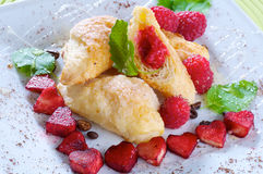 Tiny croissants with raspberries. Fresh little croissants with raspberries Stock Photography