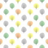 Tiny decorative trees seamless pattern. Cute nature background with pastel leaves. Autumn forest vector illustration. Design for textile, wallpaper, fabric Royalty Free Stock Photo