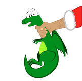 Tiny dragon in Santa's hand. Vector of Tiny dragon in Santa's hand Royalty Free Stock Images