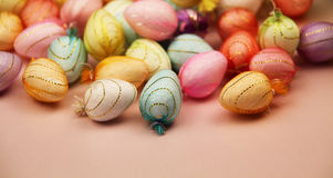 Tiny easter eggs Stock Photos