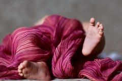 Tiny feet of a newborn baby, small fingers, purple thin scarf Stock Photo