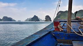Tiny ferry from Cat Ba to Ha Long stock image