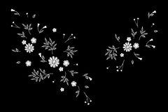 Tiny field flower realistic embroidery. Wild herbs daisy textile print decoration black fashion traditional vector. Illustration vintage design template Stock Images